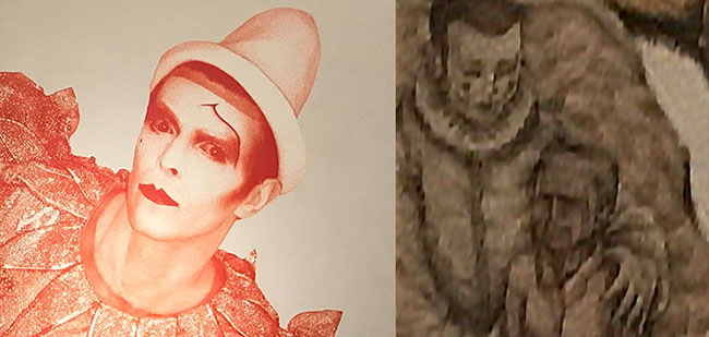 "A detail of the above mentioned painting showing an early incarnation of what was to become the ""Major Tom/ Pierrot"" persona from the song/video ""Ashes to Ashes""."
