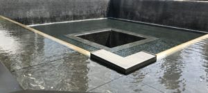 World Trade Center Memorial. This fountain is one of the 'footprints' of where the towers one stood.