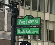 "All roads lead to Bowie: Nikola Tesla Corner in Manhattan. Bowie played Tesla in the film ""The Prestige"", his final film role."