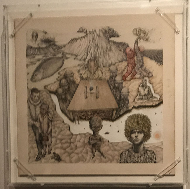 A highly symbolic pencil drawing by David created early on in his career. The occult meanings in the images later translated into some of his most popular songs.