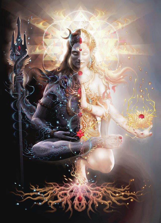 """Tantric Marriage"" by George Atherton depicting the trans deity Ardnawarishwara"